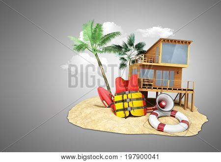 Secure Beach Concept Life Jacket Life Ring And A Horn And Other Objects On The Sand 3Render On Grey