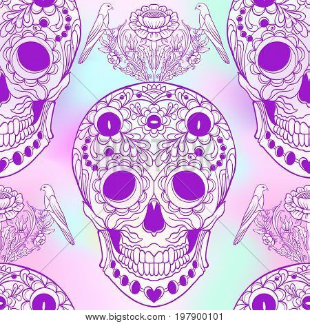 Seamless pattern, background with sugar  skull and floral pattern. Neon vanilla colors. Stock line vector illustration.