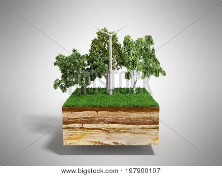 Concept Of Alternative Energy 3D Illustration Of Cross Section Of Ground With Grass Isolated On Grey