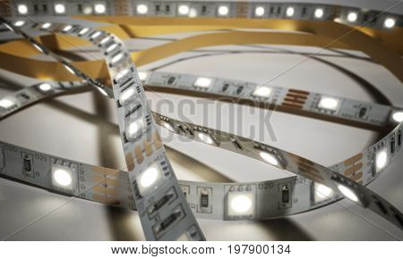 Diode Strip Led Lights Tape Close-up 3D Render On White