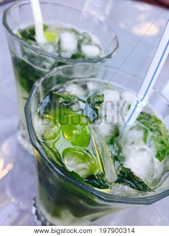 Delicious ice cold mojito  drink with fresh mints.