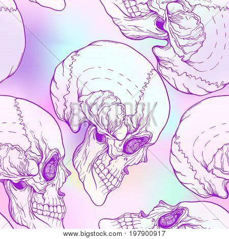 Seamless pattern, background with skull  Neon vanilla colors. Stock line vector illustration.