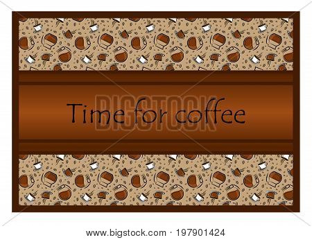 Coffee time banner design for coffee shop restaurant menu cafeteria. There is always time for coffee .Coffee background coffee cups and pots