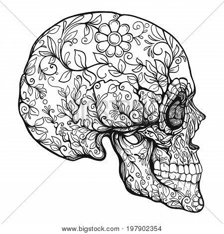 Sugar skull. The traditional symbol of the Day of the Dead. Stock line vector illustration. Outline drawing.