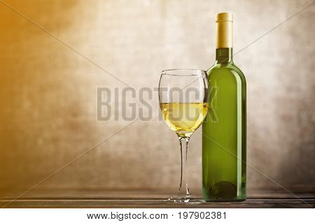 White glass wine bottle bar color background