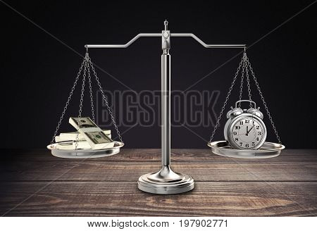 Money clock justice scales background paper isolated