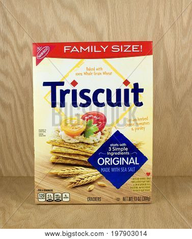 RIVER FALLS,WISCONSIN-AUGUST 01,2017: A box of Triscuit brand snack crackers with a wood background.