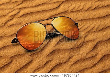 Desert sand and Sunglass Vacation Concept in Dubai, United Arab Emirates