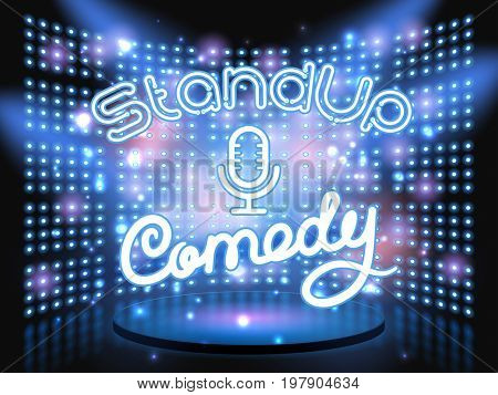 stand up comedy neon lettering live stage on background with lightbulb glowing wall.