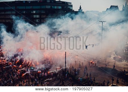 WroclawPoland. 1 August 2017. The celebration of the anniversary of the Warsaw Uprising in Wroclaw