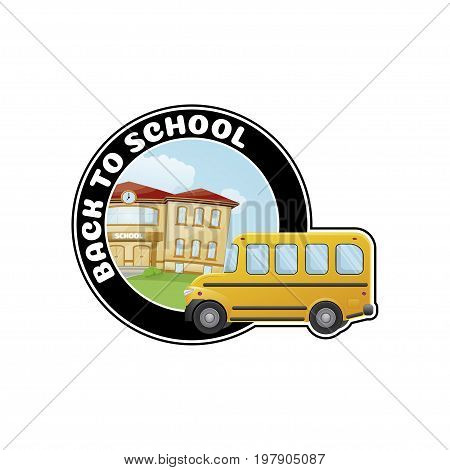 Logo with school bus and text Welcome back to school. flat style vector illustration.
