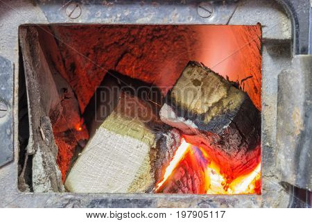Wood Stove Firebox With Fire And Wood 3