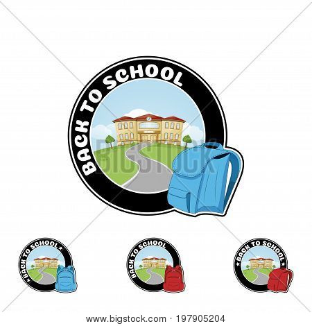 Set Logo with backpack and text Welcome back to school. flat style vector illustration.