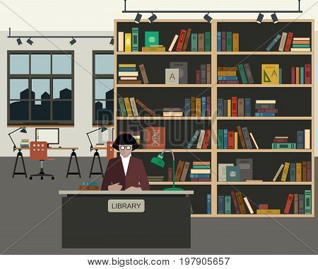 School library with books in flat style. Reading room interior.