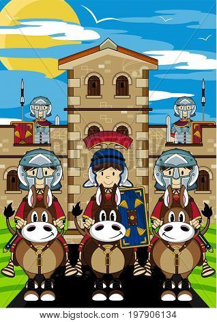 Cute Cartoon Ancient Roman Centurion Soldiers at Fort