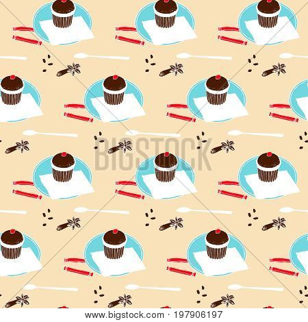 Chocolate muffin, spoon, spices, coffee beans and sugar. Seamless pattern under the mask.