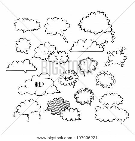 Set of hand-drawn cloud speech bubbles, black and white vector abstract illustration of speech bubbles, EPS 8