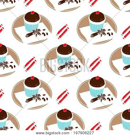 Chocolate muffin, spices and sugar. Seamless pattern under the mask.