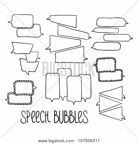 Set of hand-drawn dialog speech bubbles, black and white vector abstract illustration of speech bubbles, EPS 8