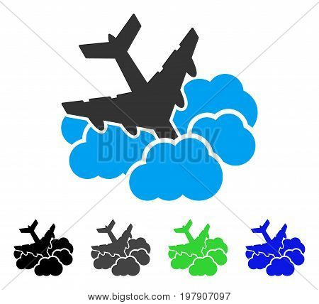 Aircraft Falls Into Clouds flat vector illustration. Colored aircraft falls into clouds gray, black, blue, green pictogram variants. Flat icon style for web design.