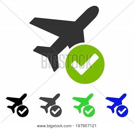 Aircraft Ok flat vector illustration. Colored aircraft ok gray, black, blue, green pictogram versions. Flat icon style for graphic design.