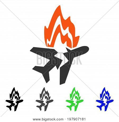 Airplane Burn flat vector illustration. Colored airplane burn gray, black, blue, green pictogram variants. Flat icon style for web design.