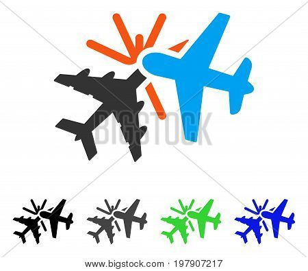 Airplane Collision flat vector pictogram. Colored airplane collision gray, black, blue, green pictogram versions. Flat icon style for web design.