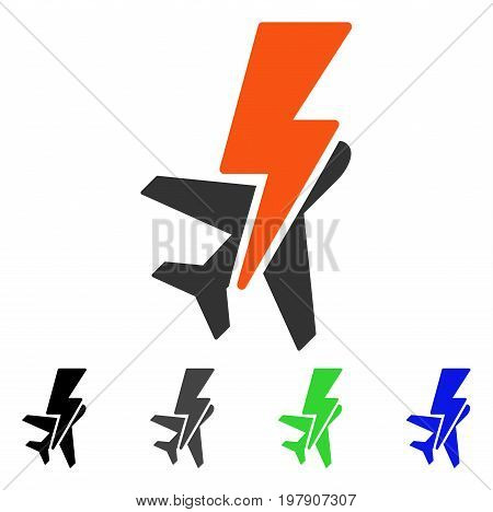 Airplane Shock flat vector illustration. Colored airplane shock gray, black, blue, green icon variants. Flat icon style for web design.