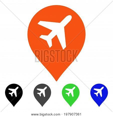 Airport Map Marker flat vector illustration. Colored airport map marker gray, black, blue, green icon variants. Flat icon style for application design.