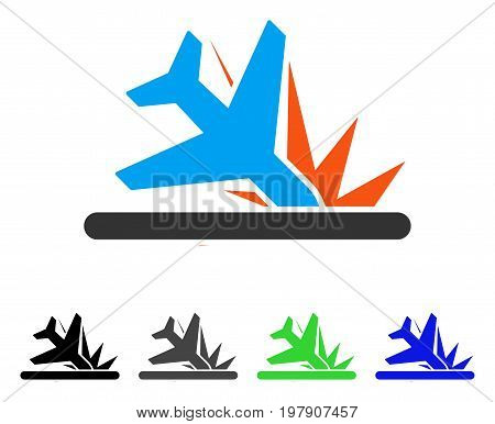 Crash Landing flat vector pictogram. Colored crash landing gray, black, blue, green pictogram versions. Flat icon style for graphic design.
