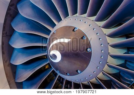 Aircraft Engine Close Up. Blades, Fan Industry Construction