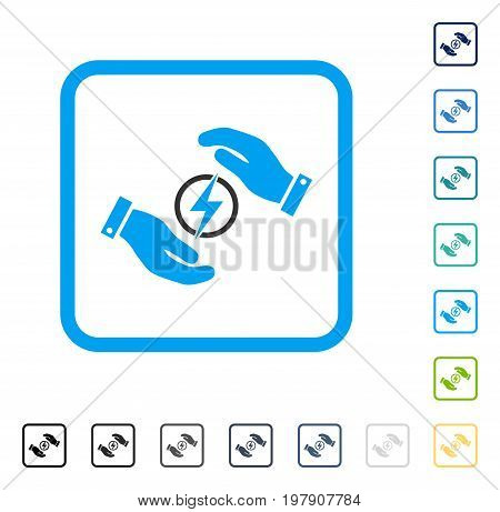 Electric Energy Insurance Hands icon inside rounded square frame. Vector illustration style is a flat iconic symbol in some color versions.