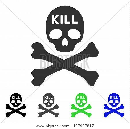 Kill Death flat vector pictograph. Colored kill death gray, black, blue, green pictogram versions. Flat icon style for application design.