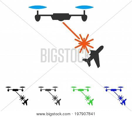 Laser Drone Attacks Airplane flat vector illustration. Colored Laser drone attacks airplane gray, black, blue, green icon variants. Flat icon style for application design.