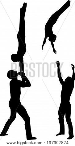 Gymnasts acrobats vector black silhouette on black background. Gymnasts acrobats vector