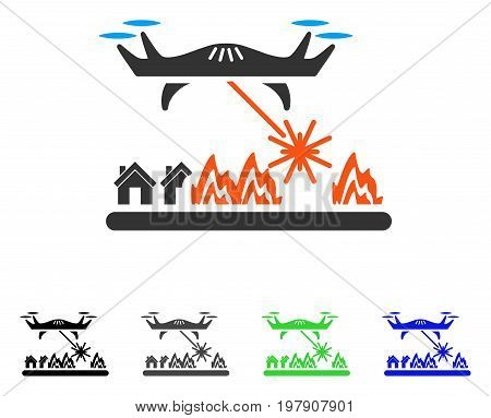 Laser Drone Attacks Village flat vector illustration. Colored laser drone attacks village gray, black, blue, green icon versions. Flat icon style for graphic design.
