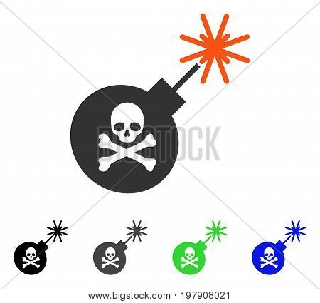 Mortal Bomb flat vector pictograph. Colored mortal bomb gray, black, blue, green pictogram variants. Flat icon style for graphic design.