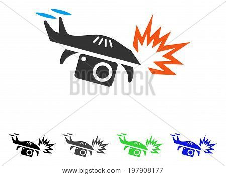 Spy Drone Explosion flat vector pictogram. Colored spy drone explosion gray, black, blue, green icon versions. Flat icon style for web design.