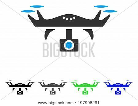 Video Spy Copter flat vector icon. Colored video spy copter gray, black, blue, green pictogram versions. Flat icon style for application design.