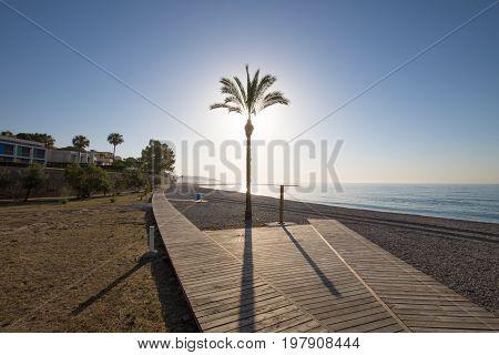 Wooden Walkway In Els Terrers Beach In Benicassim