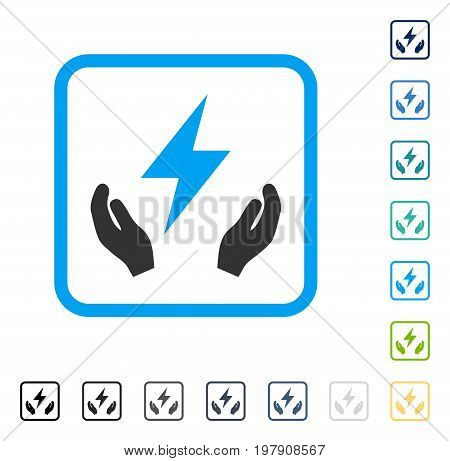 Electricity Maintenance Hands icon inside rounded rectangle frame. Vector illustration style is a flat iconic symbol in some color versions.