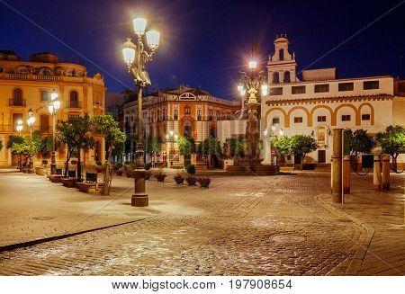 Night view of the Plaza de la Virgen de los Reyes. Sevilla. Spain. Andalusia.