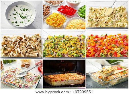 Collage with preparation process of turkey casserole