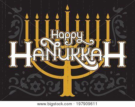 Happy Hanukkah, jewish holiday. Lettering of Hanukkah template. Elegant greeting card.
