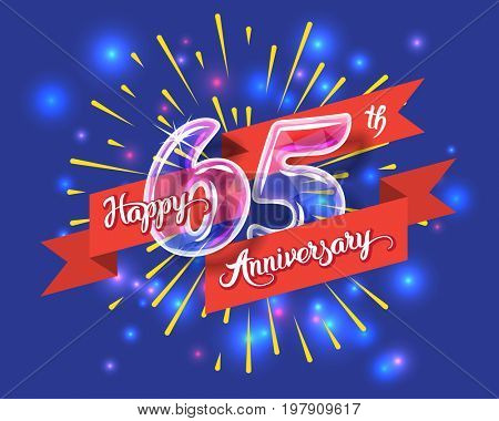 Happy 65th anniversary. Glass bulb number with ribbon and party decoration on the colorful background