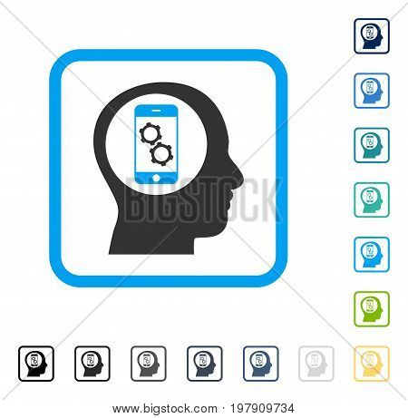 Smartphone Mind Control icon inside rounded rectangle frame. Vector illustration style is a flat iconic symbol in some color versions.