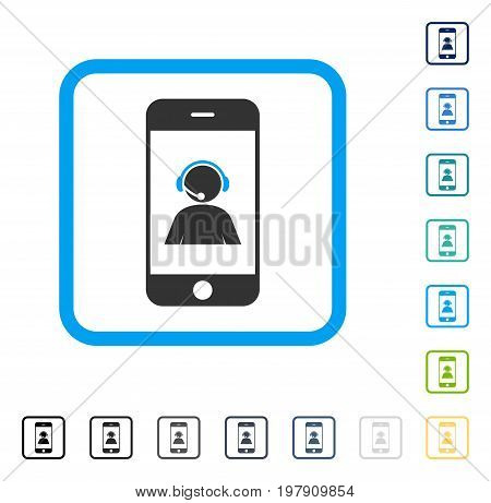 Smartphone Operator Contact Portrait icon inside rounded square frame. Vector illustration style is a flat iconic symbol in some color versions.