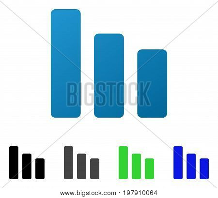 Bar Chart Decrease flat vector pictograph. Colored bar chart decrease gradient, gray, black, blue, green icon variants. Flat icon style for web design.