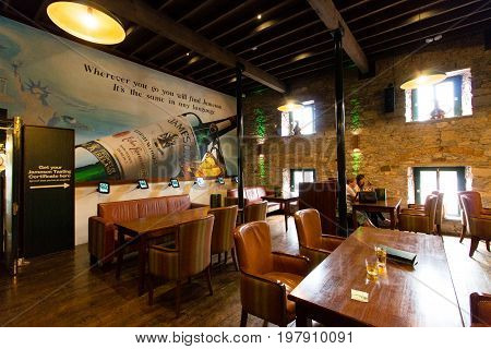July 29th, 2017, Distillers Walk, Midleton, Co Cork, Ireland - Bar inside the Jameson Experience, an Irish whiskey museum and visitor centre located in the Old Midleton Distillery in Midleton