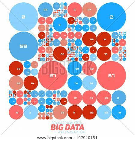 Vector abstract colorful financial big data graph visualization. Futuristic circles infographics aesthetic design. Visual information complexity. Intricate data threads chart. Business analytics